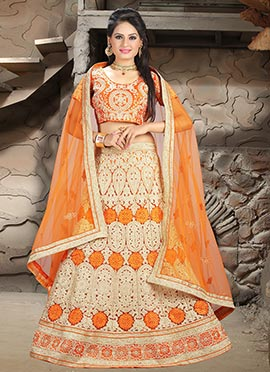 Orange Net Lehenga Choli