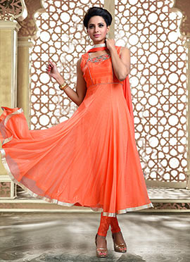 Orange Net N Art Silk Anarkali Suit