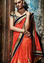 Orange Net N Georgette Half N Half Saree