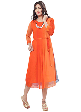 Orange Ombre Georgette Kurti