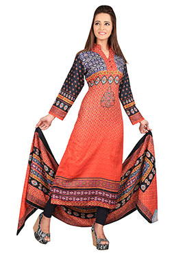 Orange Ombre Pashmina Straight Suit