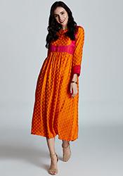 Orange Polyester Dress IWDJK2978