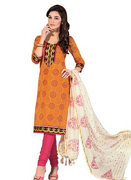 Orange Printed Chanderi Churidar Suit