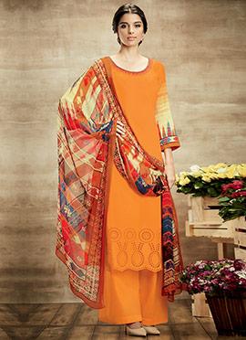 Orange Pure Cotton Palazzo Suit