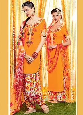 Orange Pure Cotton Satin Patiala Suit