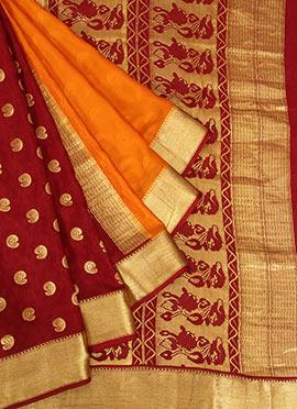Orange Pure Mysore Silk Saree