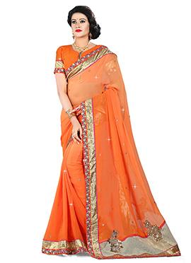 Orange Pure Viscose Border Saree
