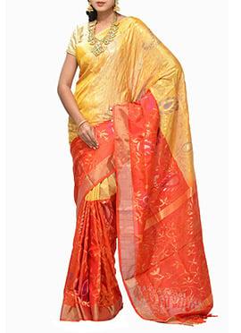 Orange Red N Yellow Silk Uppada Saree