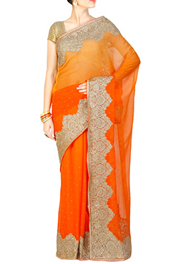 Orange Shade Embroidered Saree