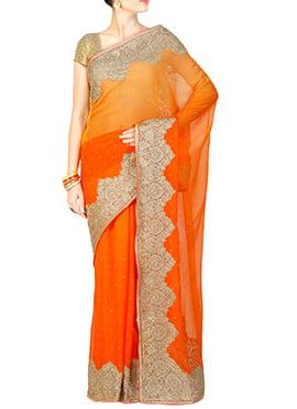 Orange Shade Embroidered Saree