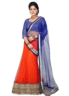 Orange Shantoon Lehenga Choli