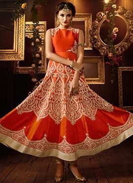 Orange Silk Ankle Length Anarkali Suit