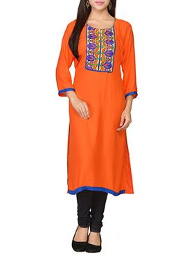 Orange Viscose Embroidered Long Kurti