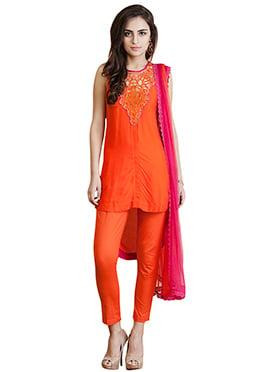 Orange Viscose Kurtis Set Home India