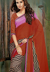 Rust Viscose Saree