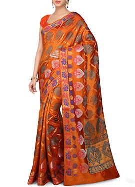 Orange Zari N Resham Woven Saree