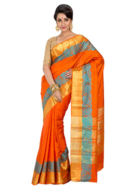 Orange Zari Saree