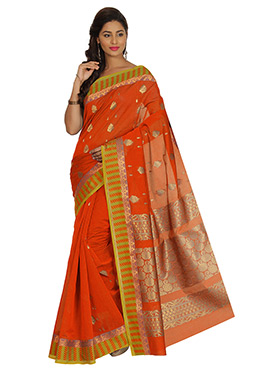 Orange Zari Weaved Kora Silk Saree