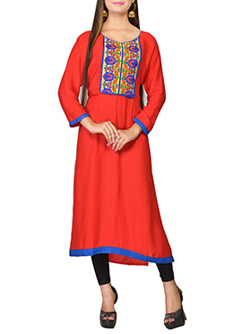 Orangish Red Viscose Embroidered Long Kurti