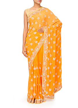 Orangish Yellow Crepe Embellished Saree