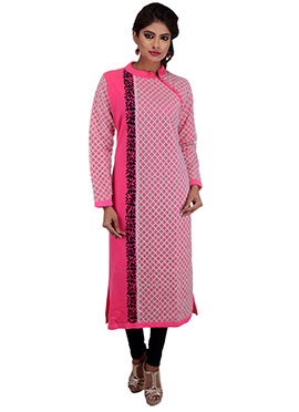 Orchids Sutraa Neon Pink Long Kurti