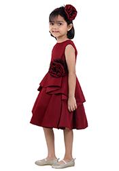Maroon Net Kids Dress KDDKD01228