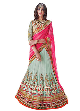 Pale Blue Embroidered Lehenga Choli