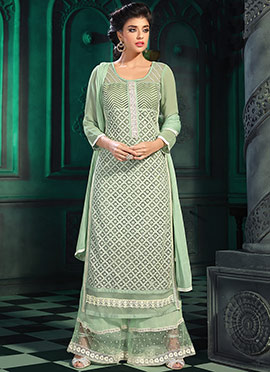 Pale Green Georgette Palazzo Suit