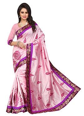 Pale Pink Chanderi Silk Saree