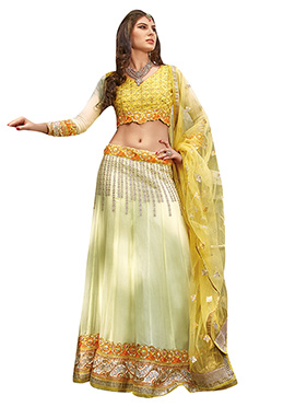 Pale Yellow Embroidered Lehenga Choli