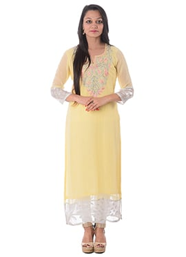 Pale Yellow Georgette Kurti