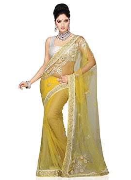 Pale Yellow Net Stones Embrllished Saree