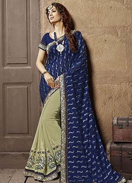 Palm Green N Navy Blue Half N Half Saree