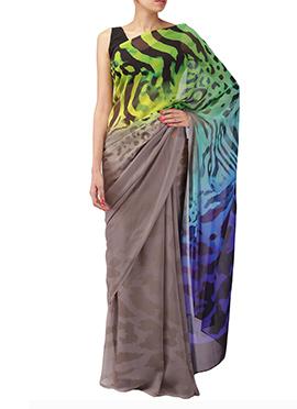 Pandora By Surbhi Brown N Multicolored Saree
