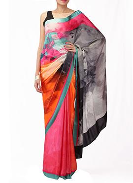 Pandora By Surbhi Printed Silk Satin Saree