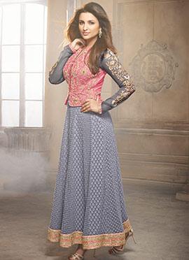 Parineeti Chopra Grey N Pink Anarkali Suit