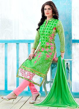 Parrot Green Cotton Churidar Suit