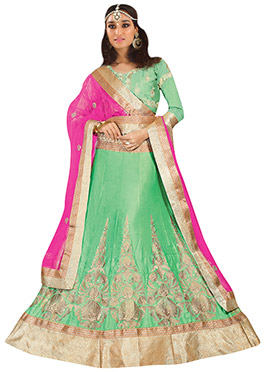 Pastel Green and Pink A Line Lehenga