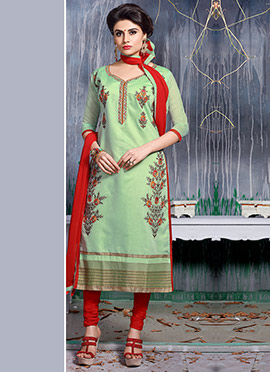 Pastel Green Embroidered Salwar Suit
