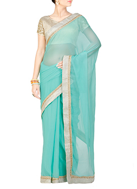 Pastel Green Georgette Saree