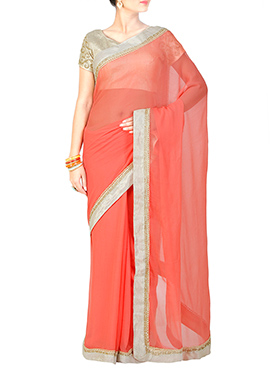 Pastel Peach Georgette Saree