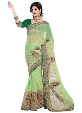 Pastel Green Net Saree