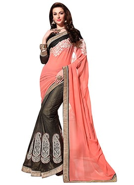 Peach  N Grey Embroidered Half N Half Saree