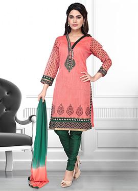 Peach Art Silk Churidar Suit