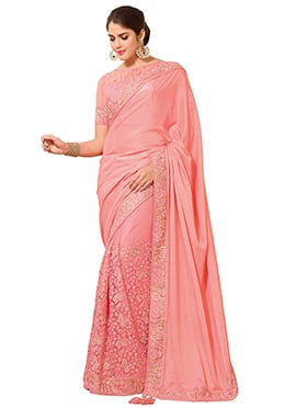 Peach Art Silk N Net Half N Half Saree