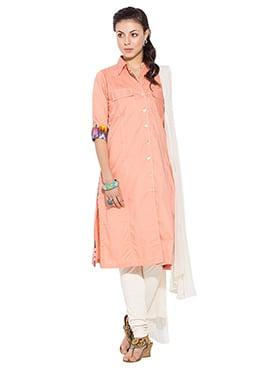 Peach Cotton Churidar Suit