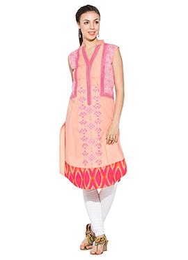 Peach Cotton Foliage Designed Churidar Suit