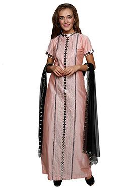 Peach Cotton Silk Straight Suit