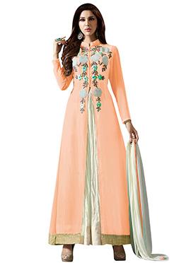 Peach Embriodered Anarkali Suit