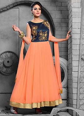 Peach Embroidered Anarkali Suit